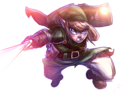 Link from Zelda redrawn joe mad sketch by me!! col by Gman20999