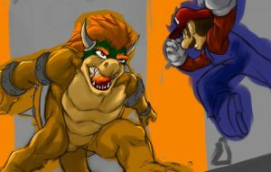 Bowser vs Mario WIP by gts