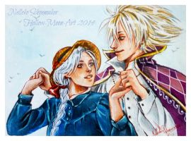 Howl and Sophie by Hollow-Moon-Art