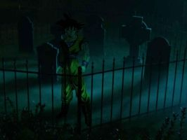 Goku by his own grave by Mate-of-Bardock