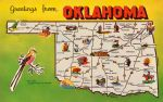 Mid-Century Map Postcard - Oklahoma by Yesterdays-Paper