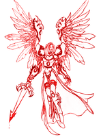 red outline angel by desithen