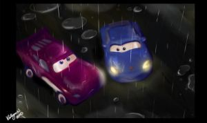 painted Cars in the rain by chocolatecherry