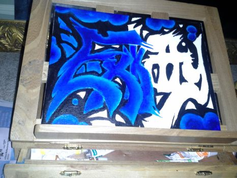 Graffiti Painting - Unfinished ExKitty Logo by EXKITTY