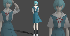 Rei Ayanami school uniform by Saskeni