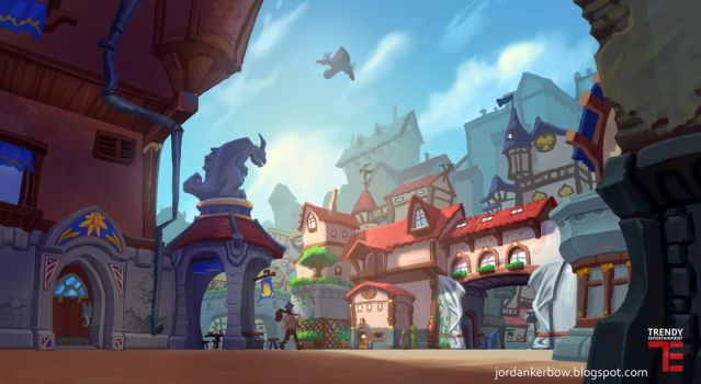 Dungeon Defenders 2 Town Square Concept Art by JordanKerbow