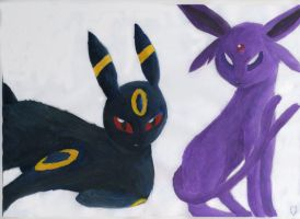 Umbreon and Espeon by Tocca