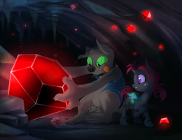Rubus and Glitters mining - commission by peachiekeenie
