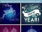 New Year and Christmas vector greeting cards by 123creative