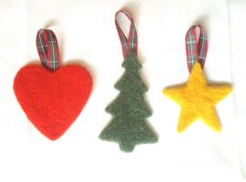 Needle-felted Christmas decorations, Large by Scarygothgirl