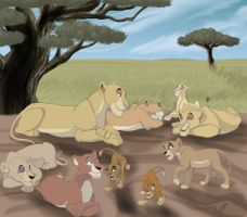 Lionesses with Cubs by Devinital