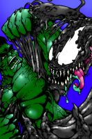 Hulk Vs Venom COLORS by psychomud