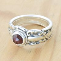 Spoon Ring with Rose-Cut Garnet by metalsmitten