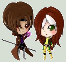 Gambit and Rogue by Grym-oire