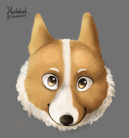Corgi painting by Ouivon