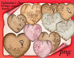 Valentine's Day Vintage papers hearts by roula33