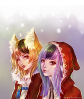 Velour and Kinu by RayCrystal