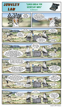 Jungle's Law - Lunch break for secretary birds by Eponymus