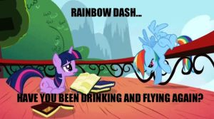 Rainbow Dash:Drinking N Flying by Closer-To-The-Sun