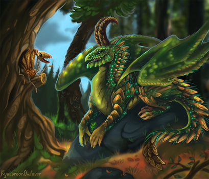 Forest dragoness and her little friend by Kyuubreon