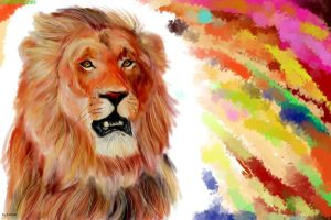 Lion and color by Inusen