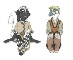 Oc: Skunk and Falcon by thecruelseasons