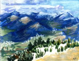 Pyrenee Mountains Watercolor by Naruyumi-Mite