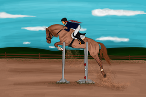 Show jumping contest. - Datzeni and Olivia. by Minthiy