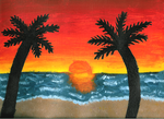 Sunset Beach Painting by Leah-Sama