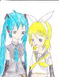 miku and rin vocaloid by shadowlinkgirl