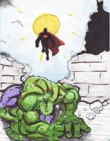 colored hulk being jumped by boricuanart