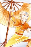 Com - Watercolor Aang circa S1 by AliWildgoose
