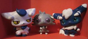 Meowstics and Espurr LPS customs by pia-chu