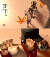 Spear Guy and Tiger: 3D by Gomfucius