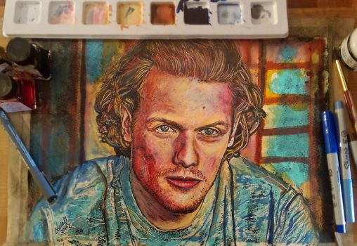 Sam Heughan, ink portrait by nmarquez72