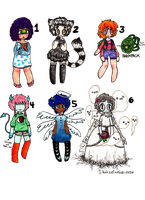 assorted monster girly adopts!! (CLOSED!) by huzzellzebub