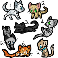 Feline Adoptables -- ALL TAKEN by Silvermoon8838