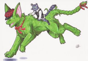 Green Dog and Grey Cat by Gomis