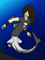 Axel the Black tip shark merman by TwilightDragon0