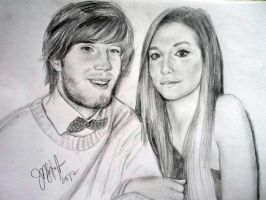 PewDiePe and CutiePieMarzia Portait Sketch by hawthehaw
