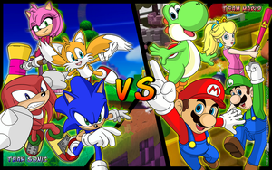Team Sonic vs Team Mario by Sauron88
