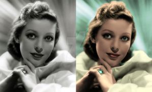 Loretta YOUNG Before and after colorization by ThinkingKind