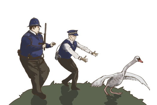 Hot Fuzz - the swan's escaped ! by margaw