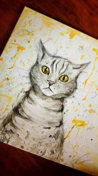 My painting of my cat by OddWorld997
