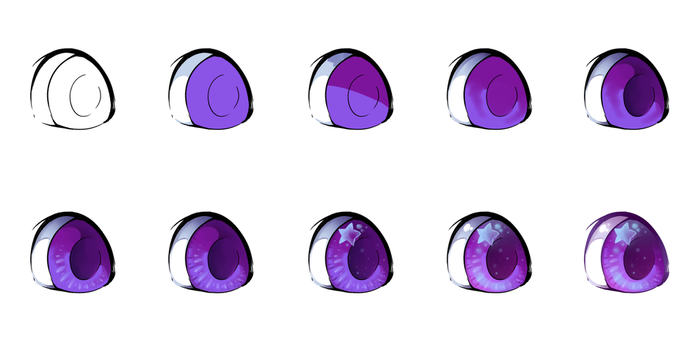 Basic SAI eye colouring process by DiniZee
