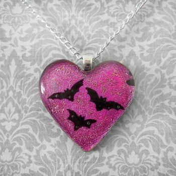 I Heart Bats Pendant by HoneyCatJewelry