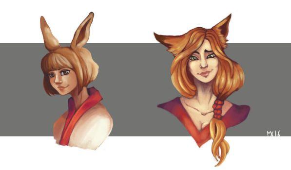 Rabbit and Fox by SybiaChan