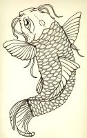 Koi tattoo sketch out by shuheffner