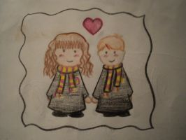 OLD-Hermione and Ron-drawing by Churro900