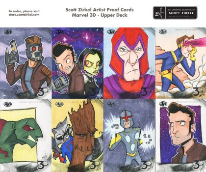 Marvel 3D Artist Proof Sketch Cards by scottzirkel